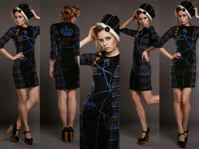 платье с принтом, дизайнерская одежда, мода 2014, шотландская клетка