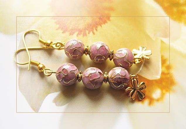 розовые серьги, нежные серьги