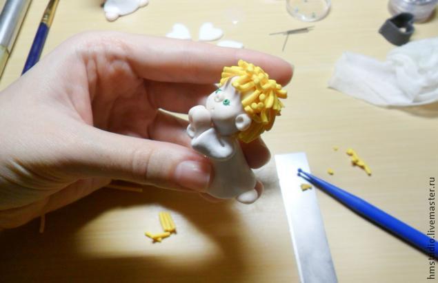 Рождественский ангел из полимерной глины, фото № 20