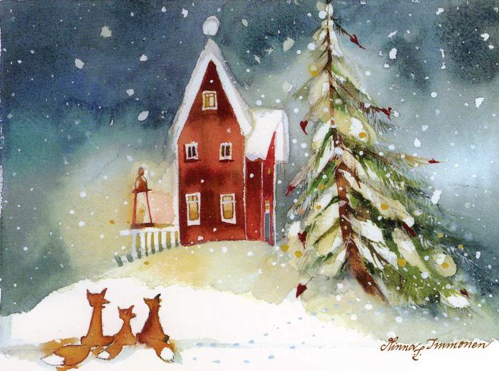 Акварельная открытка новый год