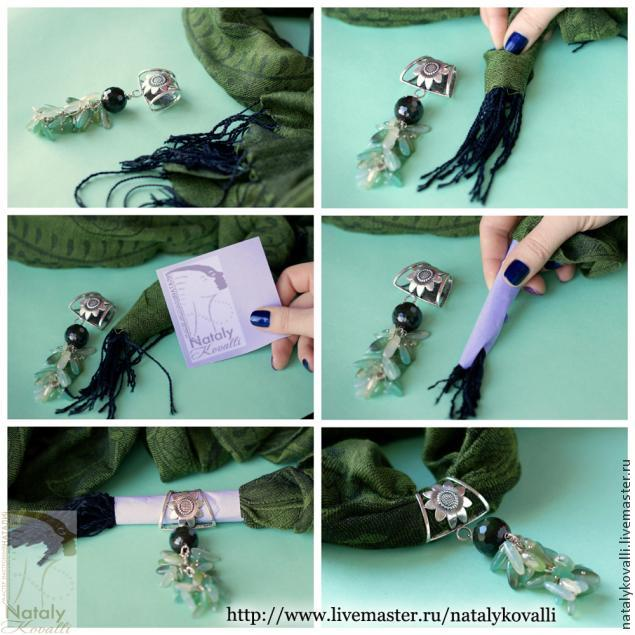 кулон, украшение для шарфа, аксессуары, шарфик, шарф, палантин, natalykovalli, мастер-класс, советы, мастер-классы