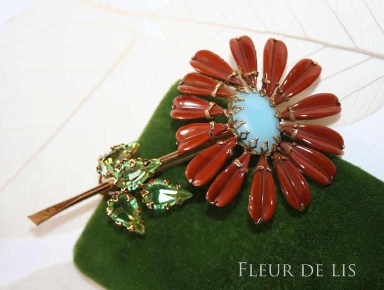 крупный цветок, винтажные украшения, florenza