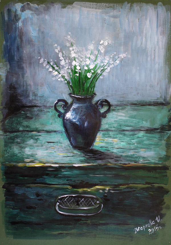 натюрморт, натюрморт с цветами, акрил, акриловые краски, ландыши, весна, сине-зеленый, зеленый, темно-зеленый