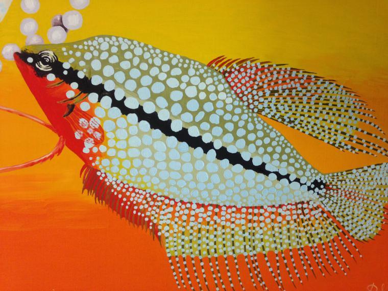 аквариум, солнце, игра, картина в подарок, яркие краски, картина в гостиную