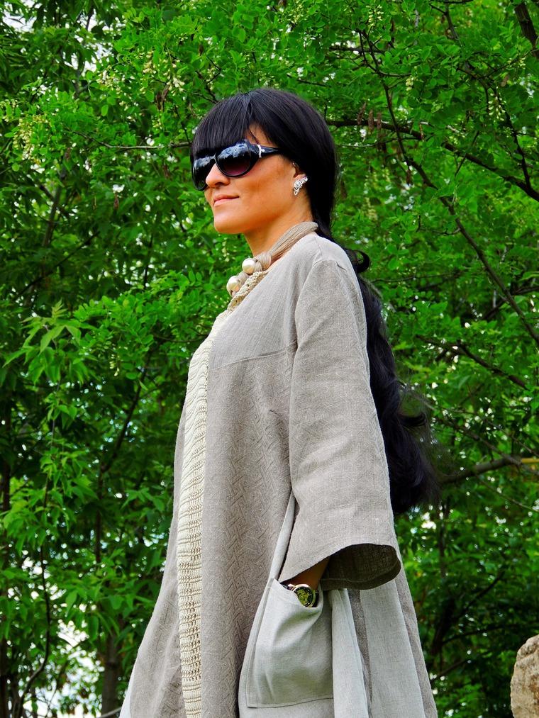 НОВИНКА! БОХО платье из льна и хлопковой пряжи - Ярмарка Мастеров - ручная работа, handmade