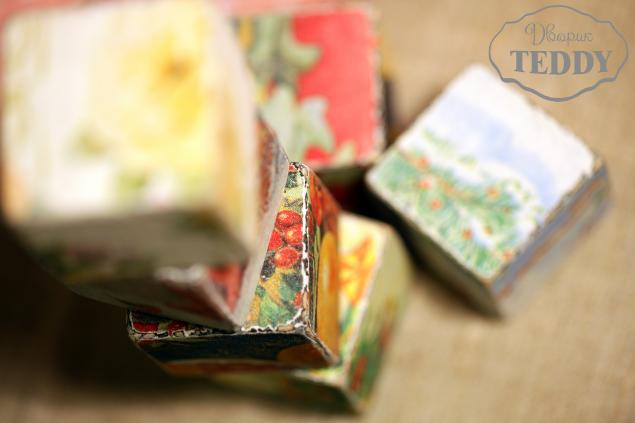 декоративные кубики, зима, мишки тедди, дерево