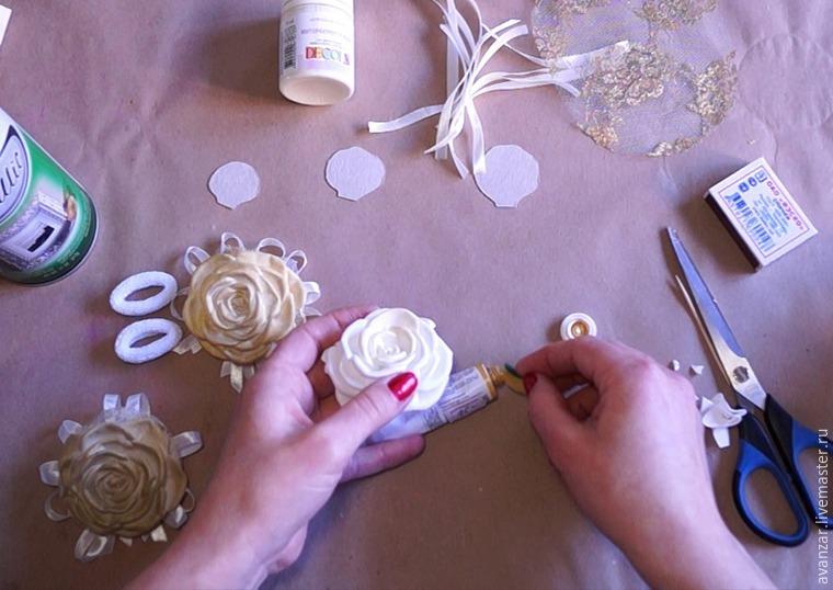 Создаем заколки с кружевом и золотыми розами из фоамирана, фото № 12