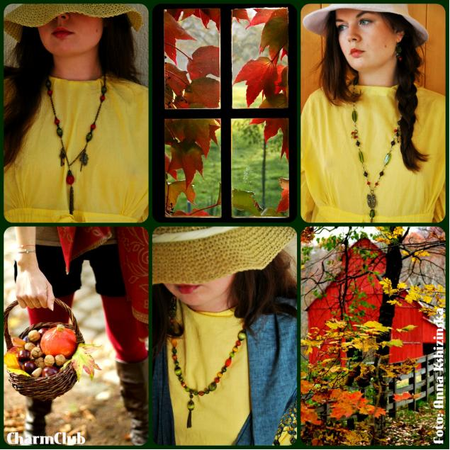 украшения ручной работы, лес, сказки, зеленый, желтый, красный