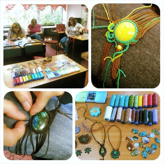 макраме, мастер-класс, уроки, украшения, вощеная нить, натуральные камни, бусины, колье, браслет