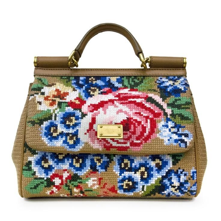 Cross stitch designer handbag [via The Mint House]