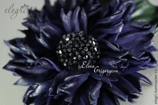 авторские цветы, обучение цветок, купить синий цветок, обучение цветоделию, купить синюю кожу, фантазийный василек, цветы от elegri, цветоделие, авторская брошь, цветы синие