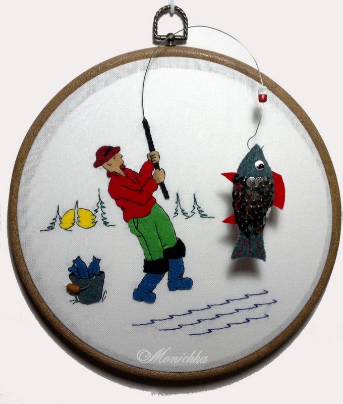 hoop-art, панно, фетр, аппликация, рыбка, рыбак, вышивка, хобби