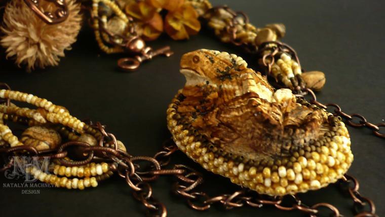 рептилии, бусы, медные украшения