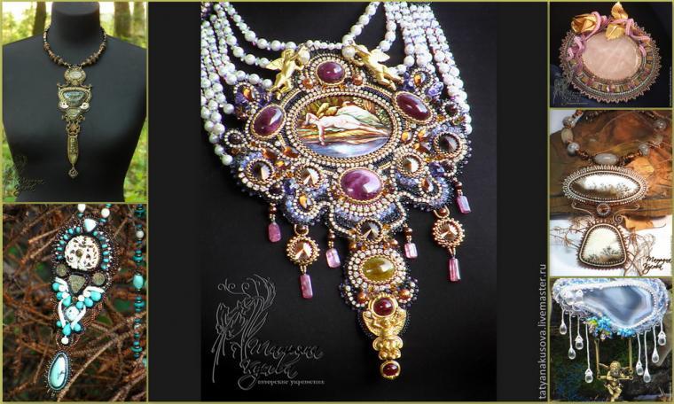 бисерный дизайн, броши, кабошоны для украшений