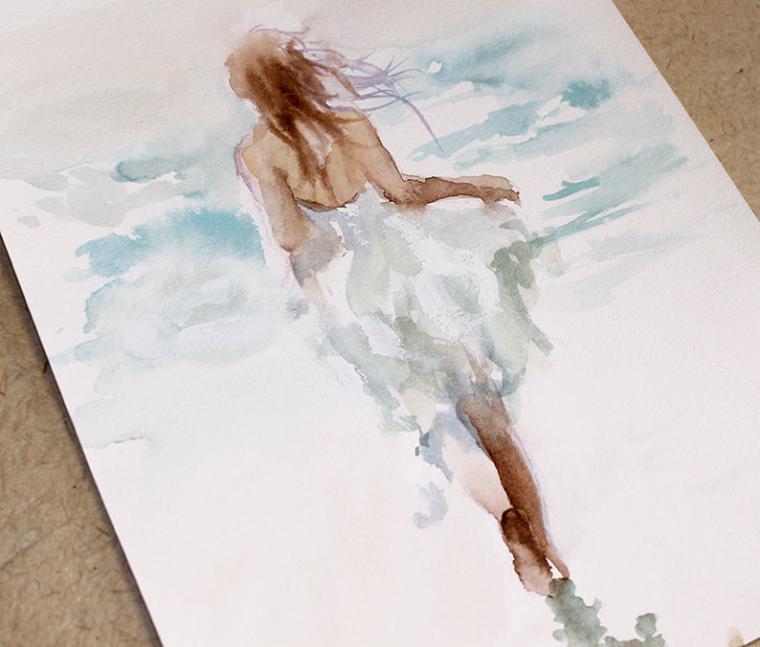 море, картины акварелью, картина с парой