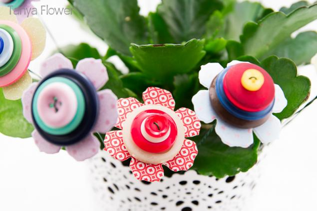 цветы из пуговиц, таня флауэр, мк
