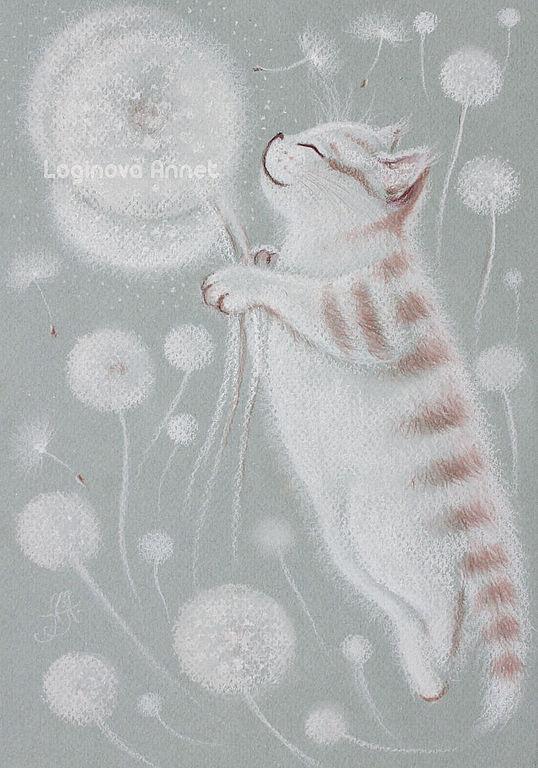 пастельная картина, картина с кошкой, в детскую
