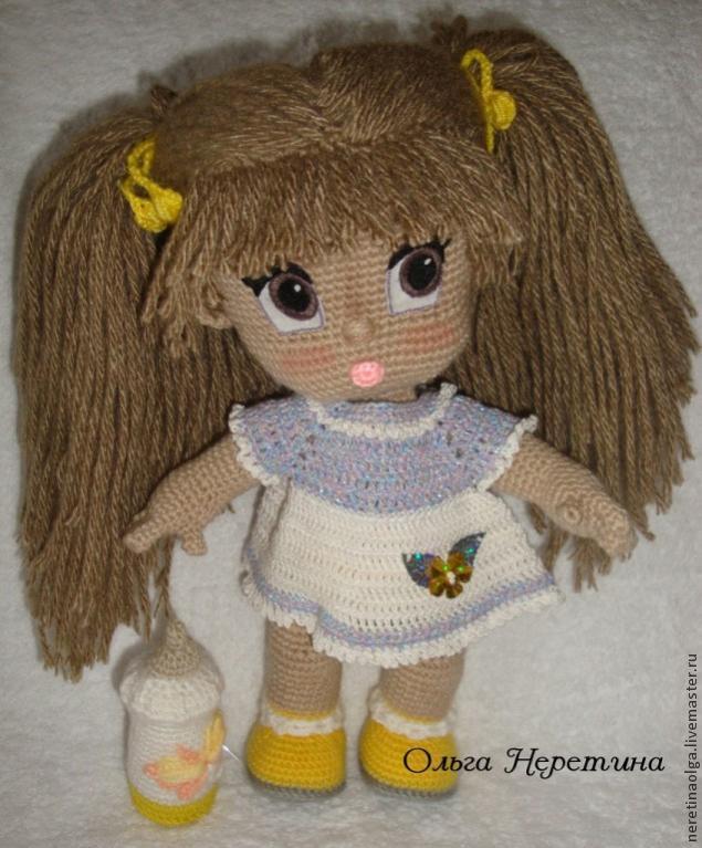 Как сделать из ниток волосы для вязаной куклы из 19