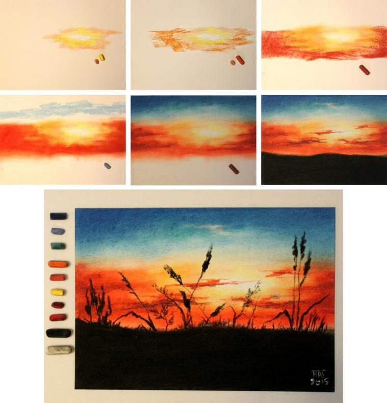 Рисуем пейзаж сухой пастелью поэтапно