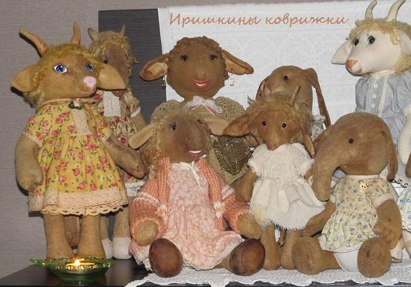 состаренные игрушки, ароматизированные игрушки, козочки, кошка в платье, салон кукол