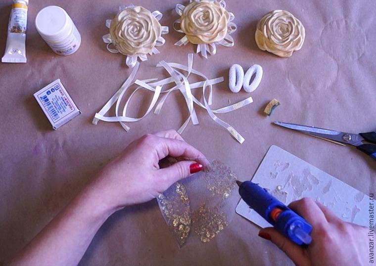 Создаем заколки с кружевом и золотыми розами из фоамирана, фото № 17
