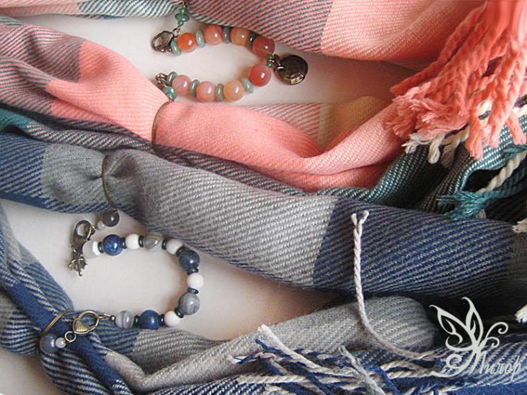 шарф колье, тёплый шарф, шарф с кулоном, шарф с подвеской, шарф с браслетом