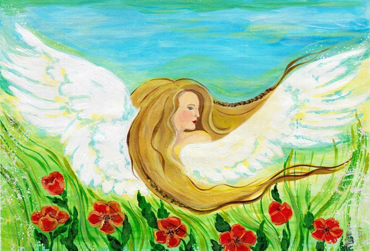 ангел, мастер-класс, живопись, картина, духовная практика, ангел хранитель, арт-терапия