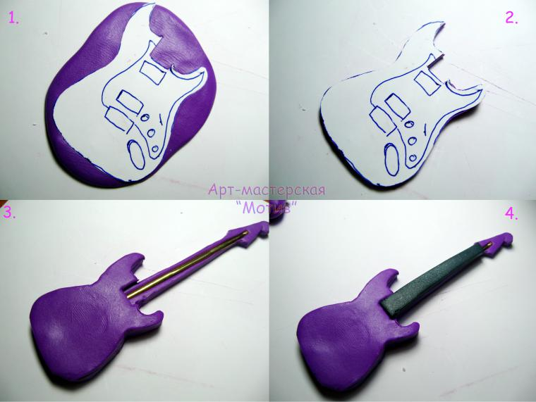 полимерная глина, гитара из пластики, необычный брелок