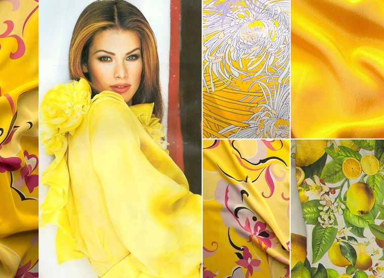 шёлк, жёлтый, принт желтый, натуральные ткани
