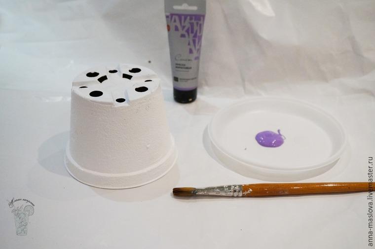 имитация керамики, кашпо для фиалок