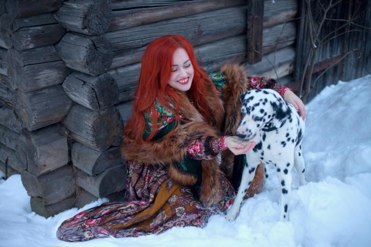 платок, зима русская