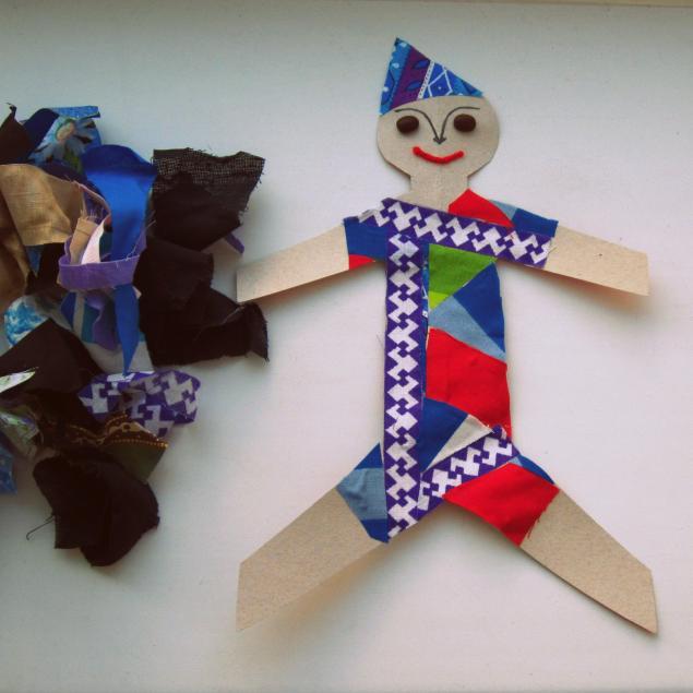кукла своими руками, для детей, делаем с детьми, бумажная кукла, лоскутное шитье, ткань, аппликация из ткани