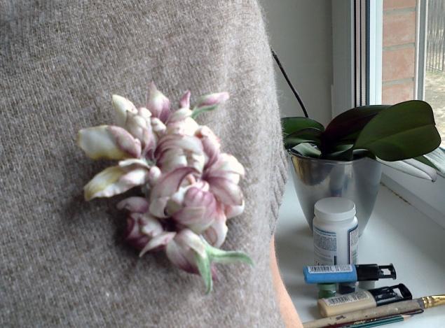 обучение декупажу, sospeso trasparente, мастер-класс по декупажу, брошь-цветок
