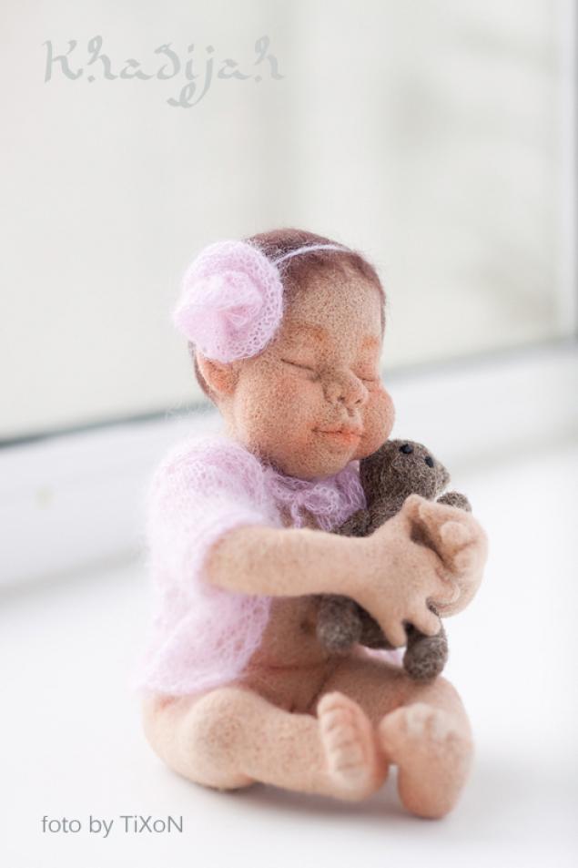войлочные игрушки, войлочная кукла, мишка