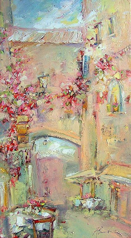 италия, пейзаж, цветы, картина в подарок, лучший подарок, легкая живопись, картина в детскую