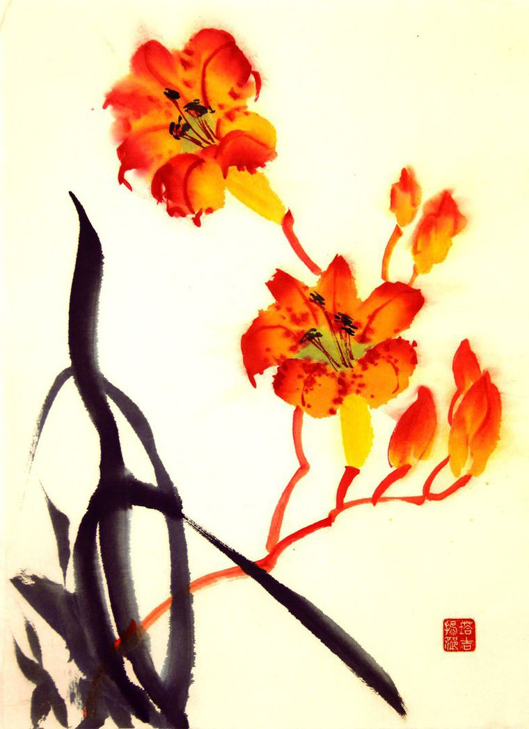 белые лилии, чистота, инь, солнце, белый, оранжевый