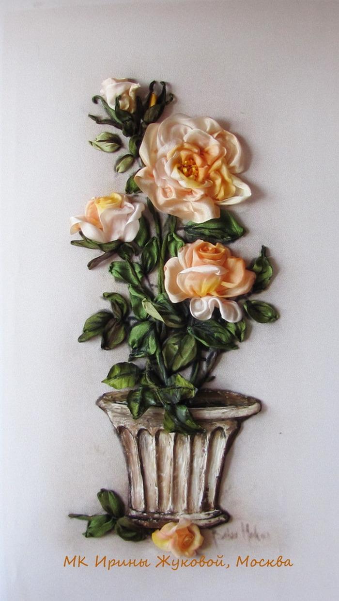 Принты с розами для вышивки лентами