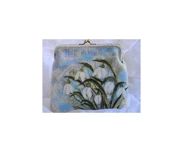 валяние из шерсти, сумочка с фермуаром, шитьё