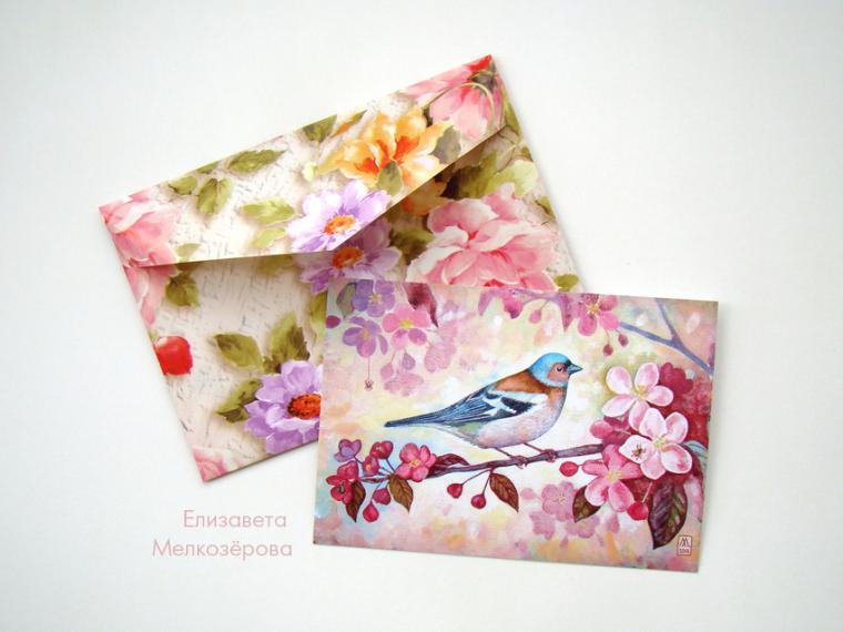 набор открыток, цветение