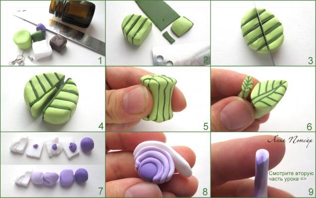 Мастер класс лепки из полимерной глины серьги