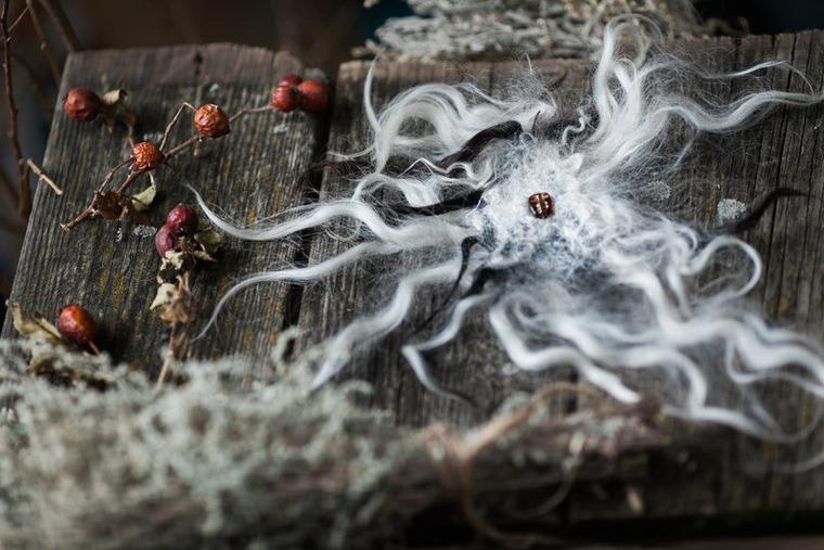 Валяный легкий шарф на шелковой основе с опушкой из флиса., фото № 4