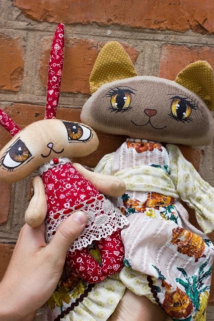 Мастер-класс   Текстильная кошка с расписными глазами., фото № 6