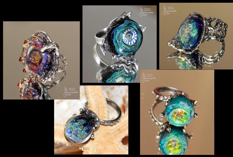авторское серебро, серебряные кольца, серьги лэмпворк