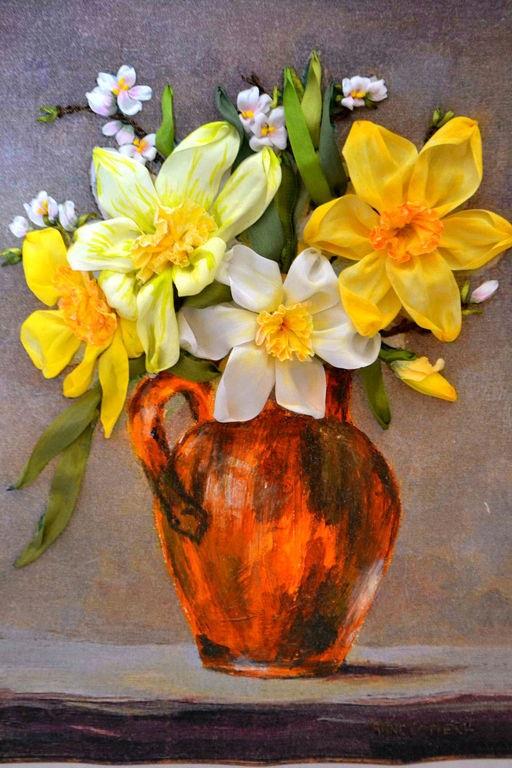 ленты, цветы, картина