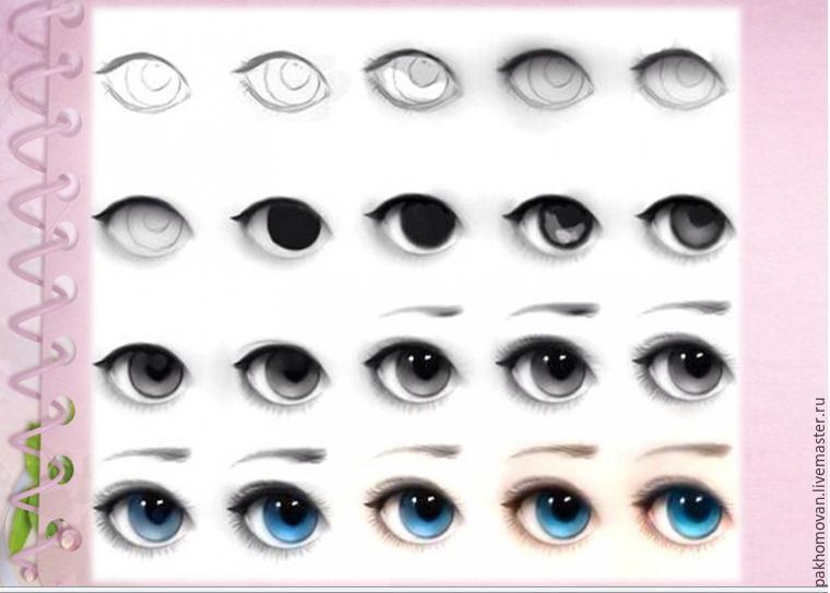 Глаза для куклы схема