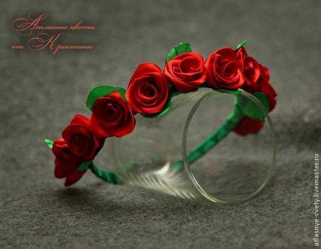 Венок из роз канзаши своими руками