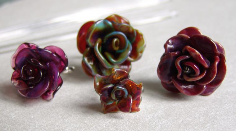 кольца, новинки магазина, лэмпворк, розы, авторские украшения, серебряная фурнитура, муранское стекло