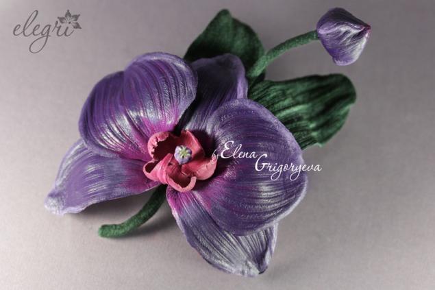 обучение цветоделию, авторские цветы, заказать брошь, мастер-класс орхидея, кожаная флористика, цветоделие от elegri, крашение, обучение кожа, цветок на заказ