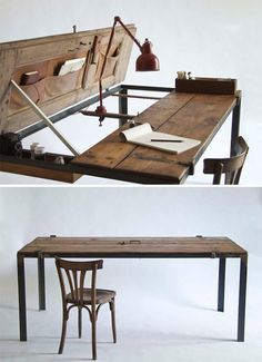 Door writing desk. Found objects converted into furniture.   handmade charlotte