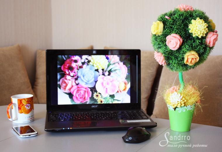 цветы ручной работы, мыло ручной работы, подарок на 14 февраля, ароматное мыло, корзинка, букеты